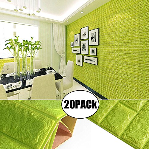 Green Color Foam Wallpaper Sticker For Boys Room Wall Decor, POPPAP 3D Foam Brick Panel Peel And Stick Wallpaper Self-adhesive Removable Wall Paper for TV Background, Children Room, Bedroom/ 20 PACK by POPPAP (Image #1)