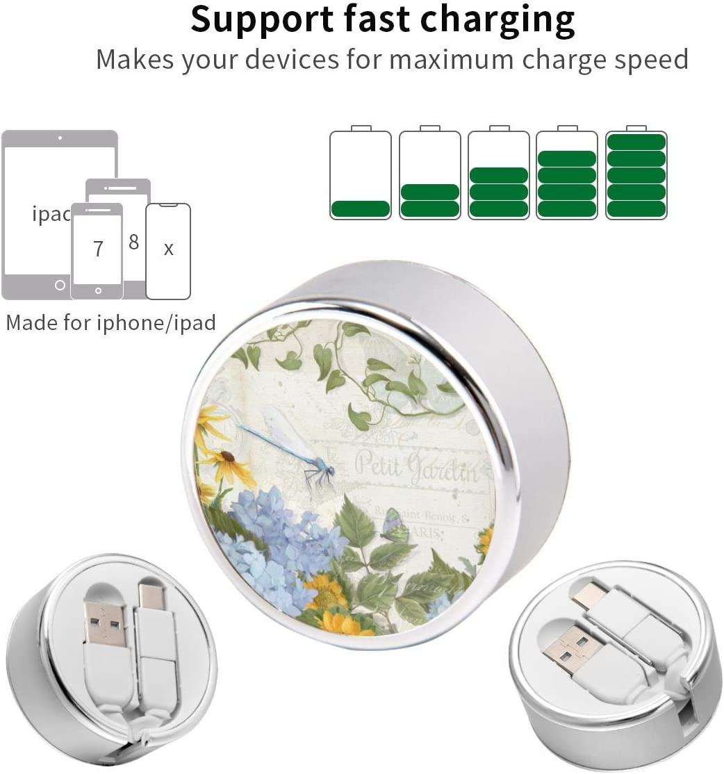 Multi Quick USB Charging Cable,French Farmhouse Vintage Floral Dragonfly 2 in1 Fast Charger Cord Connector High Speed Durable Charging Cord Compatible with iPhone//Tablets//Samsung Galaxy//iPad and More