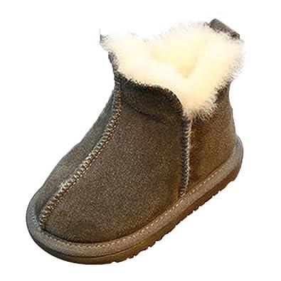Deylaying Baby Schuhe Kinder Junge Mädchen Kind Anti-Rutsch Leder Schneestiefel Erstes Gehen Winter Schuh 2-6 Jahr Innenlänge:14cm(5.51in) 1XncET