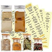 KITCHEN ALMIGHTY 271 Spice Labels: 242 Spice/Herb Names + 29 Blank Labels | Thicker Labels & Backing Paper | Alphabetized Spice Label System Clear Round Corner PET Stickers and Black Letters