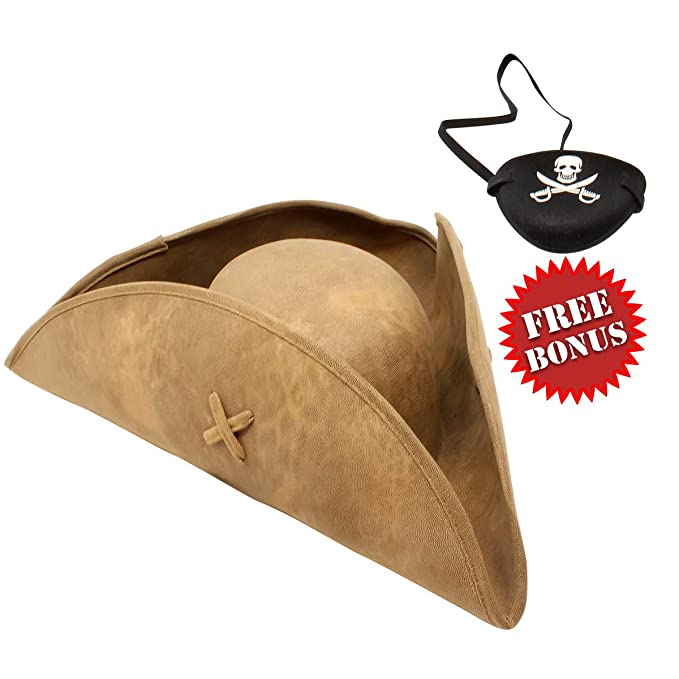 428ca2b7 Amazon.com: Nautical Cove Pirate Tricorn Hat Deluxe Costume for Men and  Women Brown: Clothing