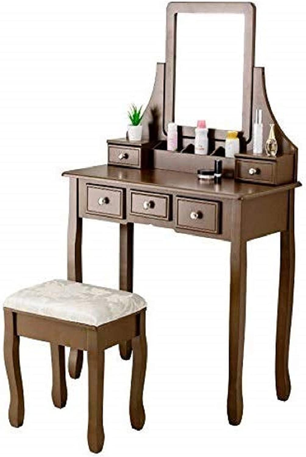 Mecor Vanity Table Set with Stool, Wooden Dressing Table w Square Mirror 5 Drawers, Women Girls Makeup Table 3 Removable Dividers Bedroom Furnitures Brown