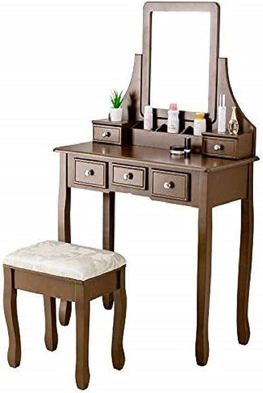 Espresso Mecor Vanity Makeup Dressing Table Set With Mirror And Stool Bedroom Furniture Bedroom Sets Bedroom Furniture