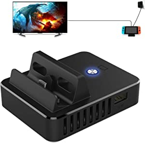 Switch Dock Replacement, Kinvoca Portable Switch Docking Station for Nintendo Switch with Advanced PD Protocol, HDMI 2.0A, One USB 3.0 Port and Two USB 2.0 Port