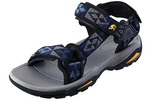dca7c89b6 CAMEL CROWN Sandalias de Playa para Hombres Almohadillas de Goma y Tiras de  Velcro con Suela de Goma de Verano Caminar de Gran tamaño: Amazon.es:  Zapatos y ...