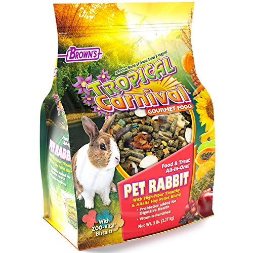 Rabbit Food Fortified - Tropical Carnival F.M. Brown's Gourmet Pet Rabbit Food with High-Fiber Timothy and Alfalfa Hay Pellets - Probiotics for Digestive Health, Vitamin-Nutrient Fortified Daily Diet
