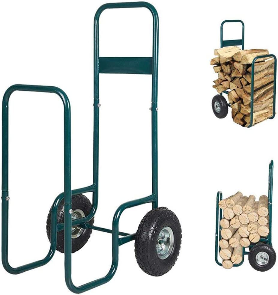 KARMAS PRODUCT Firewood Log Carrier Cart with Two Wheels Hauler Rack Wood Mover Storage Carrier Cart for Backyard Patio Garden Work