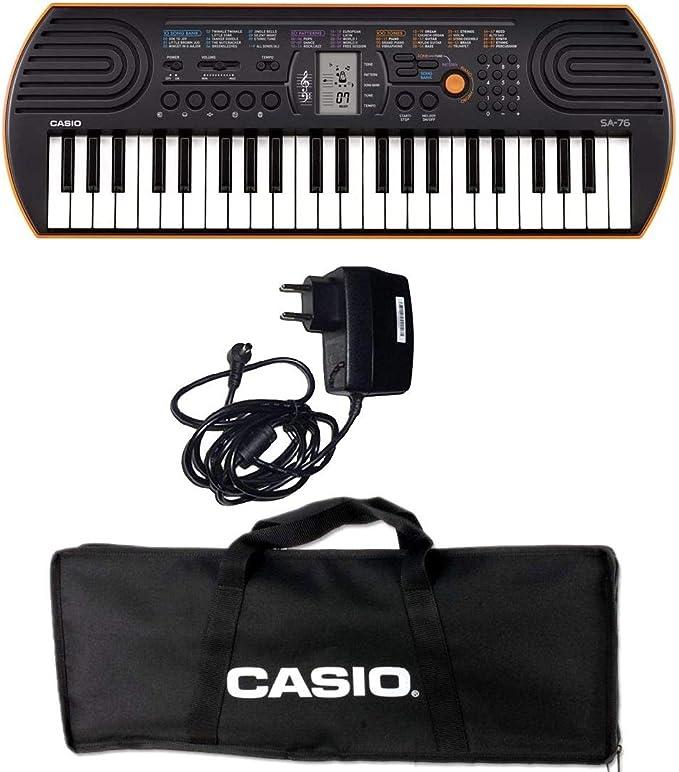 Casio SA-76 Mini teclado polifonica 8 sonidos de 44 teclas negra/Naranja + Bolsa para Transporte teclado Original Casio (NO acolchada), negro + fuente ...