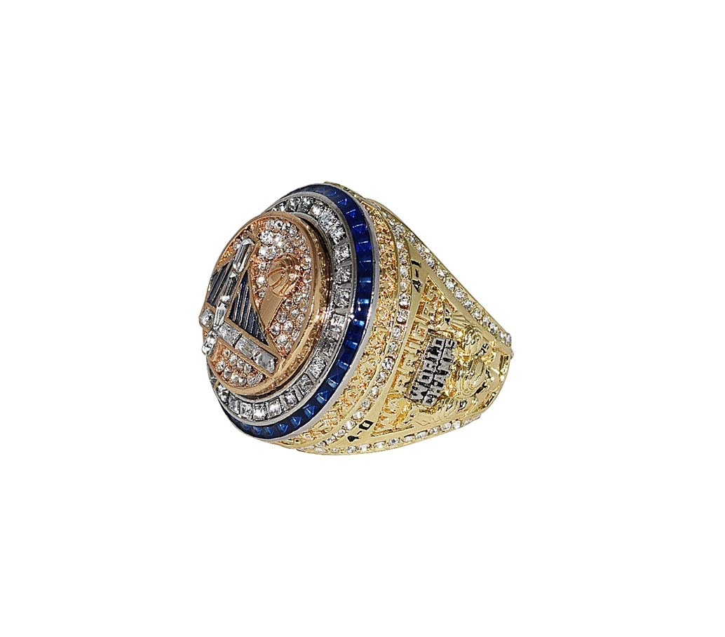 GOLDEN STATE WARRIORS (Kevin Durant) 2017 NBA FINALS WORLD CHAMPIONS Collectible High Quality Replica NBA Basketball Gold Championship Ring with Cherrywood Display Box