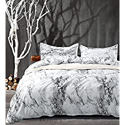 Queen Bedding Duvet Cover Set White Marble, 3 piece - 1000 - TC Luxury Hypoallergenic Microfiber Down Comforter Quilt Cover with Zipper Closure, Ties - Best Organic Modern Style for Men and Women