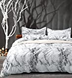 NANKO Queen Bedding Duvet Cover Set White Marble, 3 Piece - 1000 - TC Luxury Microfiber Down Comforter Quilt Cover with Zipper Closure, Ties - Best Organic Modern Style for Men and Women