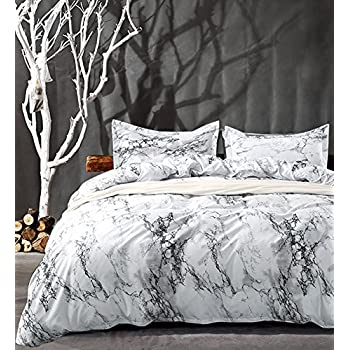 Amazon Com Nanko Queen Bedding Duvet Cover Set White