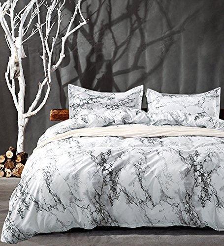 Queen Bedding Duvet Cover Set White Marble, 3 piece - 1000 -