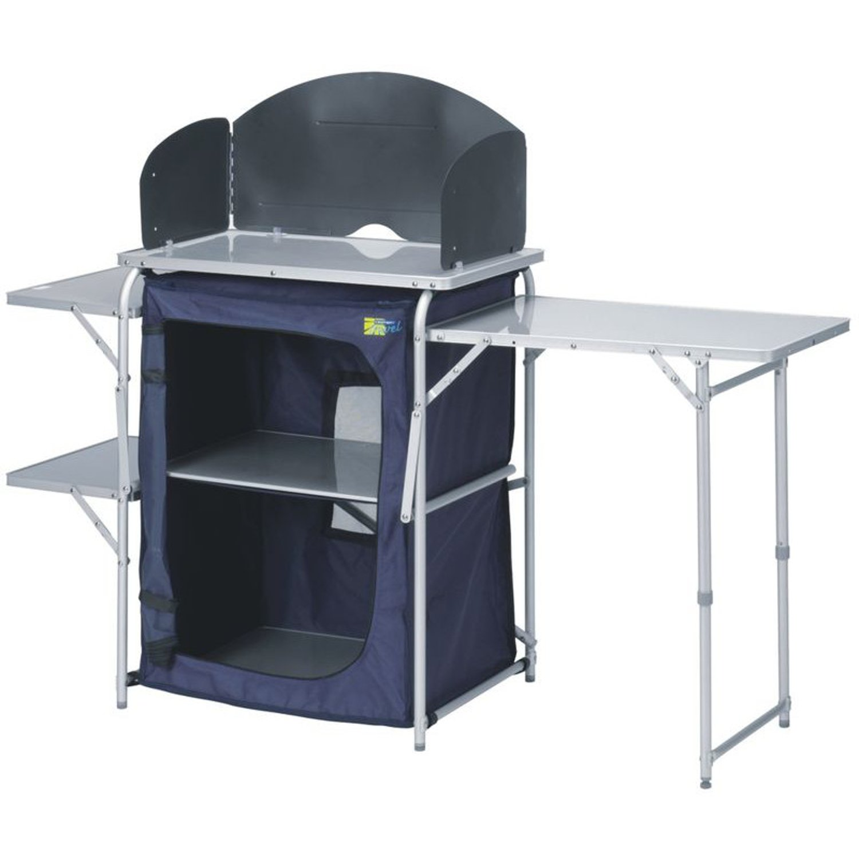 Campingküche | Reiseküche | faltbar stabil leicht | mit Regalen und Windschutz