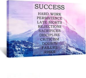 Kreative Arts - Motivational Quotes Motto Inspirational Success Teamwork Canvas Stretched Wood Framed Artwork Beautiful Cloudy Sunrise in The Mountains with Snow Ridge Pictures for Office Decor 24x36