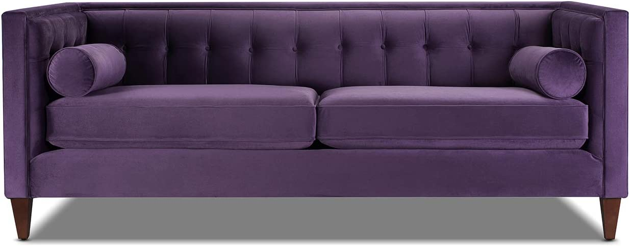 Jennifer Taylor Home Jack Collection Modern Hand Tufted Upholstered Sofa With 2 Bolster Pillows and Hand Finish Legs, Purple
