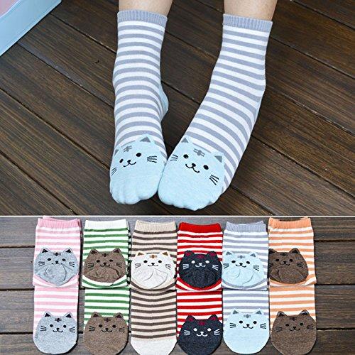 Socks for Women,3D Animals Striped Cartoon Socks Women Cat Footprints Cotton Socks Floor Clearance Yamally