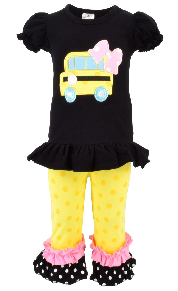Unique Baby Girls Back to School Bus Shirt Boutique Outfit (8/XXXL, Black)