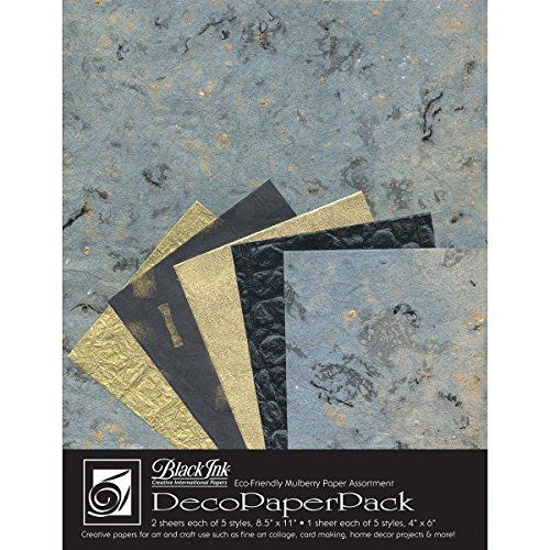 Black Ink Decorative Papers - Black Ink Decorative Paper Pack, 8.5 by 11-Inch, Blue Storm