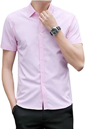 Fly Year-uk Camisa básica de Manga Corta con Cuello de Punto y Botones para Hombre: Amazon.es: Ropa y accesorios
