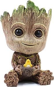 Groot Planter Pot, Baby Groot Bird-Nest Model Succulent Planter Pot Cute Green Plants Pot Groot Flower Pot, Groot Pen Holder with Hole
