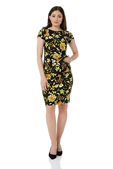 f8e0f72150ca Roman Originals Women Floral Print Pleat Jersey Dress - Ladies Short Sleeve  Knee Length Going Out Daytime Interview Work Office Cocktails Occasion  Dresses  ...