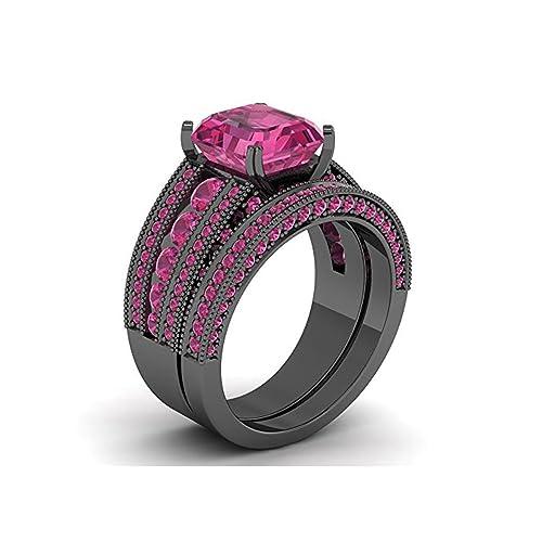 Mejor compromiso anillos de boda en 3.40 ct rosa circonitas cúbicas corte princesa de cristal montado