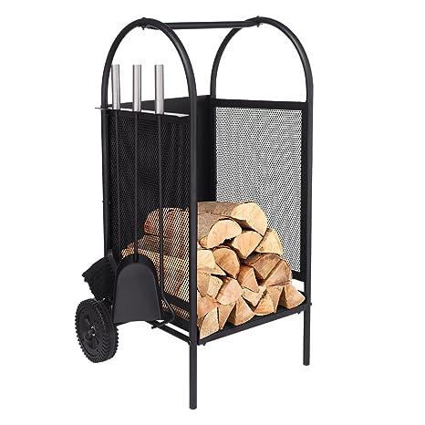 Carro de leña con ruedas, estante de leña con 3 herramientas Porta chimeneas Soportes para portaequipajes Conjunto de herramientas para chimenea de ...