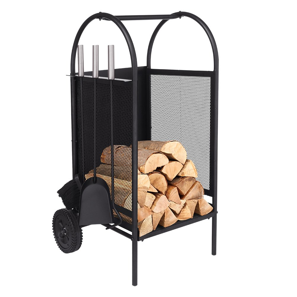 ART TO REAL Firewood Log Rack with Wheels, Firewood Log Cart with 3 Tools Fireplace Log Carriers Holders Black Wrought Iron Fireplace Tool set, Gift for Valentine