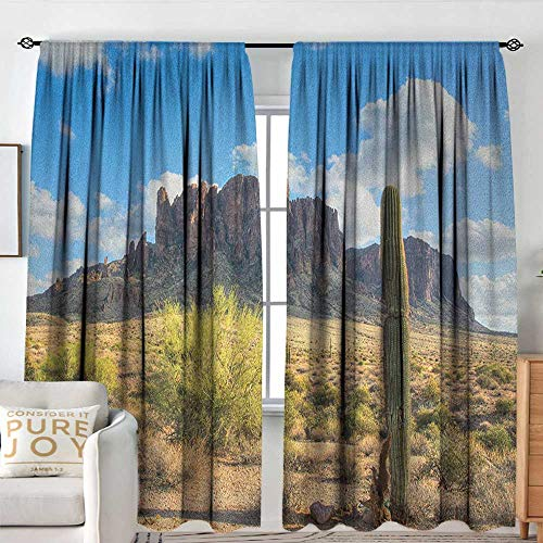 Print Pattern Curtains Saguaro,Famous Canyon Cliff with Dramatic Cloudy Sky Southwest Terrain Place Nature, Brown Green Blue,for Room Darkening Panels for Living Room, Bedroom 54