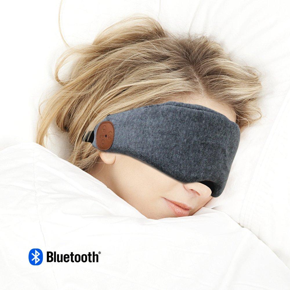 Bluetooth Sleeping Eye Mask Headphones Wireless Sleep Headset Handsfree Travel Sleeping Headphones Bluetooth V4.2 Blindfold Eye Cover Built-in Speakers and Microphone VZ SPORT MATE(Gray)