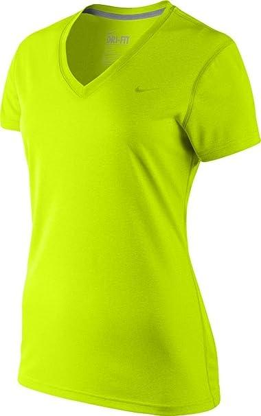 Amazon.com  Nike Women s Legend V-Neck Dri-Fit Training Shirt-Volt ...
