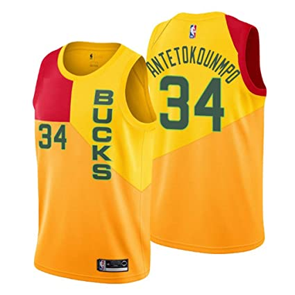 f5ec667f52fe Jordan Men s Milwaukee Bucks  34 Giannis Antetokounmpo City Edition Yellow NBA  Swingman Jersey (Small