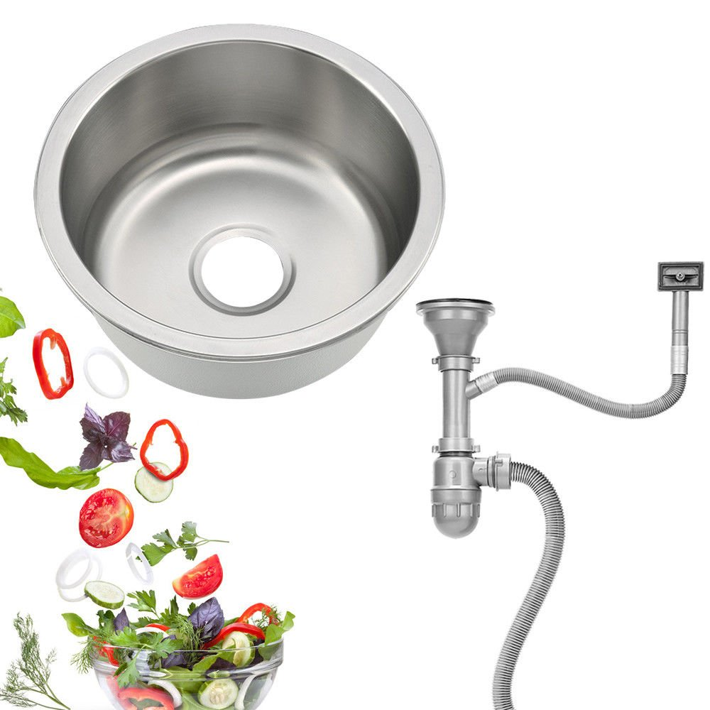 Fregadero circular Fregadero de acero inoxidable Fregadero empotrado de cocina Conjunto de accesorios de drenaje