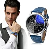 Men's Wrist Watch Men's Faux Chronograph Leather Strap Blue Ray Glass Quartz Analog Wrist Watch Business Dress Watch