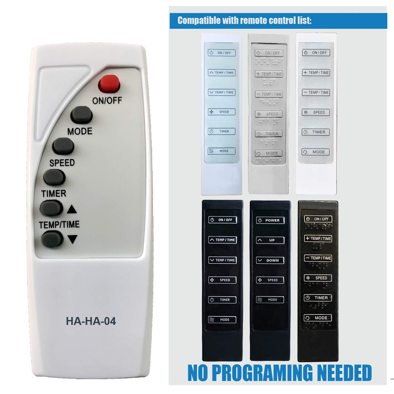HA-HA-04 Replacement for Haier Commercial Cool Air Conditioner Remote Control A2530-450-AA11 A2530-451-AB02 AC-5620-73 AC-5620-088 AC-5620-079 AC-5620-084 AC-5620-090 A2530-451-AB05 A2530-451-AA12