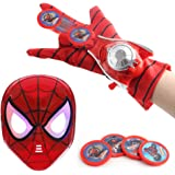 O3 Kids Toy Spider-Man Mask + Glove + Transmitter, Spider Man LED Luminous Mask Accessories Hero FX Glove, Homecoming Superhe