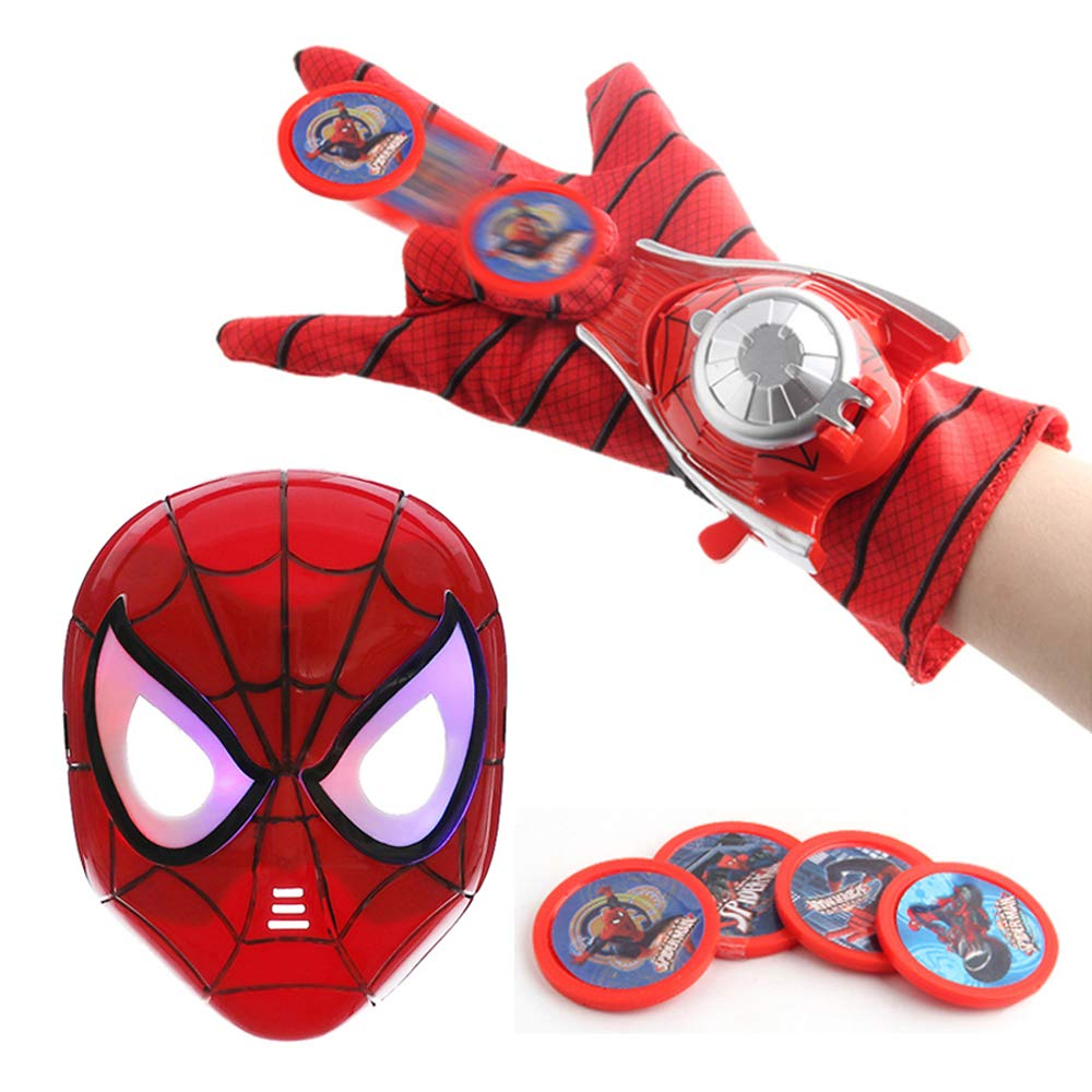 OMGOD Kids Toy Spider-Man Mask + Gloves + Transmitter, Spider Man LED Luminous Mask Accessories Hero FX Glove, Homecoming Superhero Dress Up Costumes Webshooter Web Slinger Launcher Role Play Set Toy by OMGOD