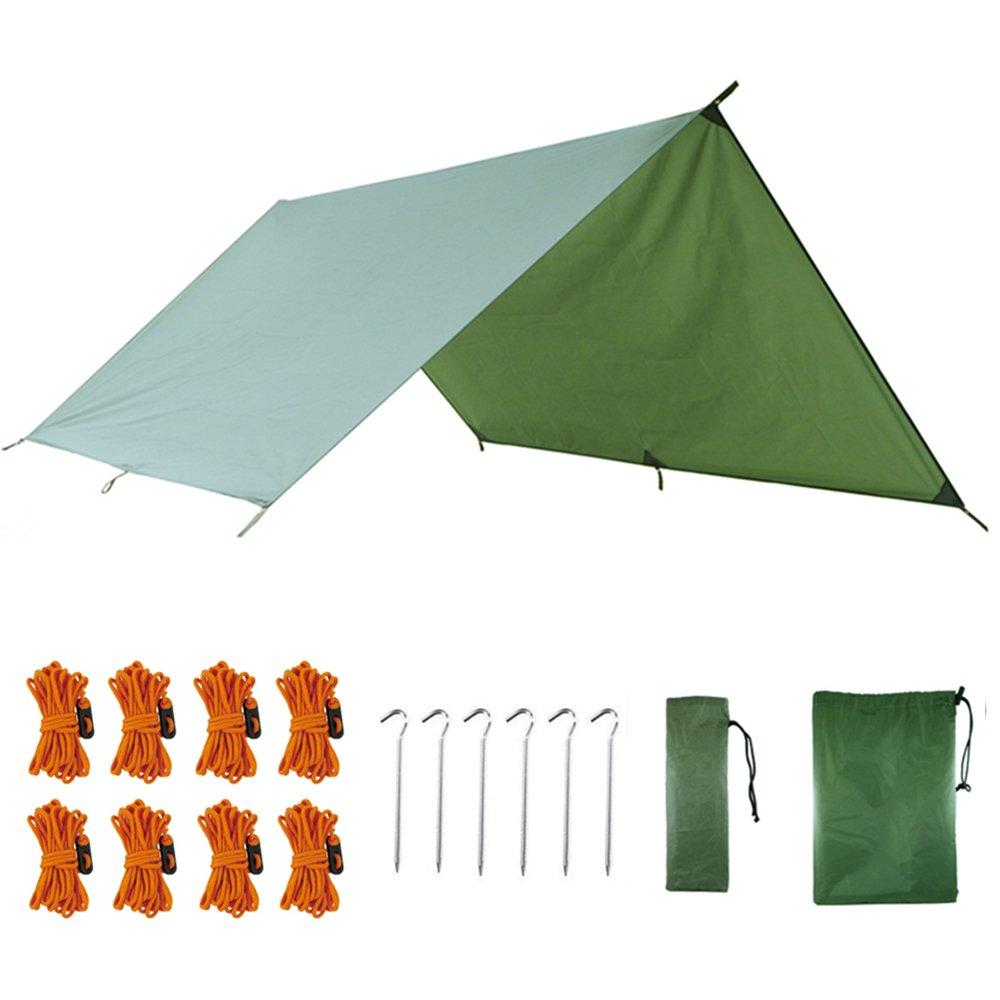 AUTFIT Hamaca tienda de campaña, 3 m x 3 m, portátil, ligera, impermeable, lona de lluvia, lona verde militar, refugio para camping, senderismo, mochila.