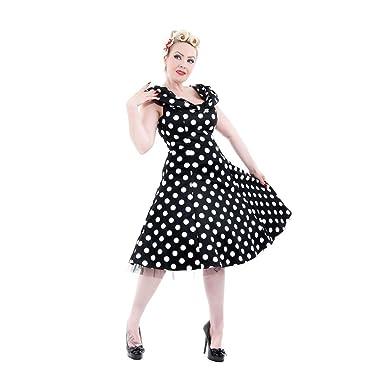 H&R London Dress 6847 BIG DOTS DRESS black-white UK10 S [Apparel]