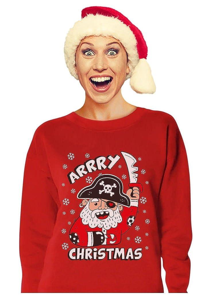 Tstars Arrry Christmas Pirate Santa Buccaneer Ugly Xmas Sweater Women Sweatshirt