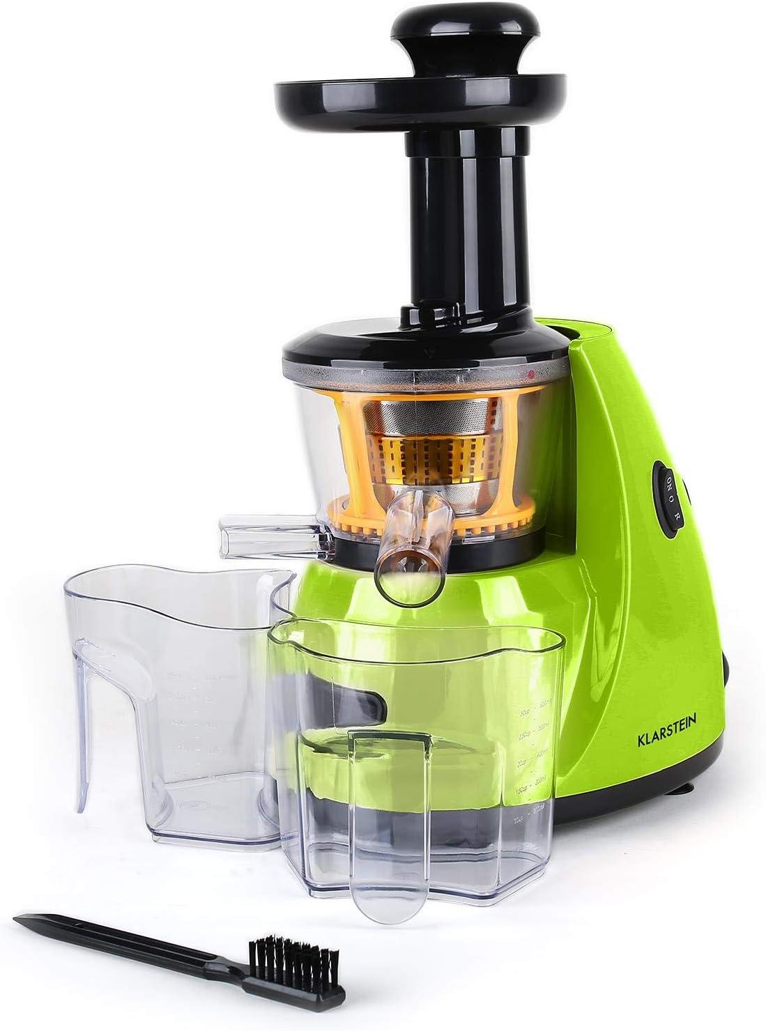 Klarstein Fruitpresso Saftpresse licuadora Vertical (150W Potencia, 70 RPM/min, 600ml Capacidad, Separador Pulpa, 2 velocidades, Accesorios, Pilon, receptaculos, Cepillo y Filtro, Verde)