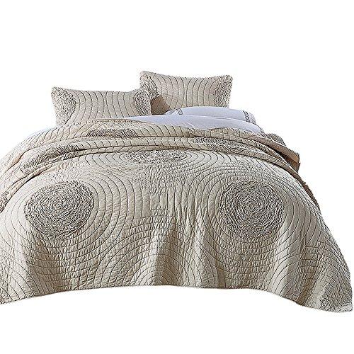 NEWLAKE Floral Bedspread Quilt Sets-Cotton Patchwork Coverlet Set,Champagne Color, King ()