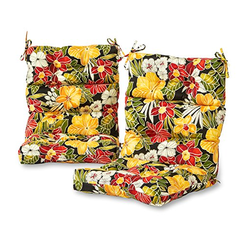 Greendale Home Fashions Outdoor High Back Chair Cushion (set of 2), Aloha (Aloha Lounge)