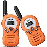 Caroger Ricetrasmittente 8 Canali 2 x Walkie Talkies PMR446MHZ per Bambini 2 Way Radio Interphone PortatileFino a 3300 Metri / 2 Miglia, Arancione
