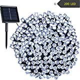 Solar String Lights RockBirds 72ft 22m 200 LED Certified by FCC and Rohs, Outdoor String Lights Waterproof IP65 Decorative Lights for Halloween, Wedding, Outdoor, Homes, Party (White)