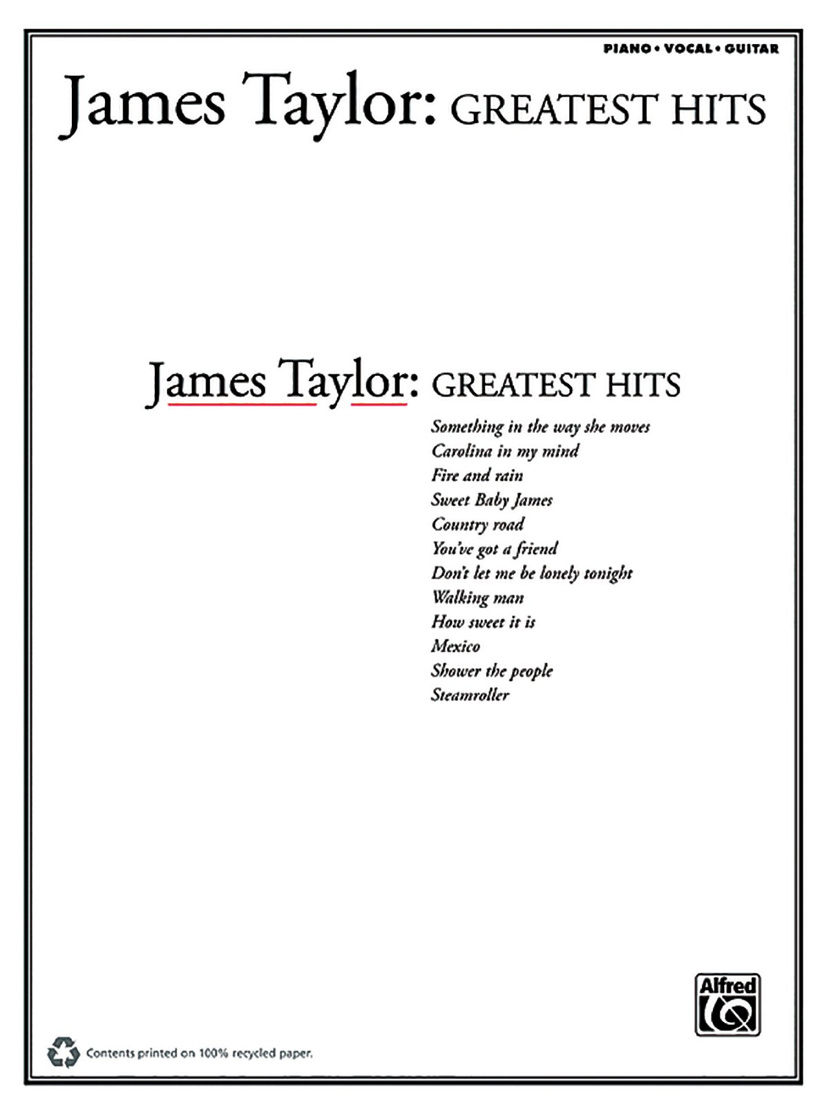 James Taylor Greatest Hits Piano Vocal Guitar Amazon