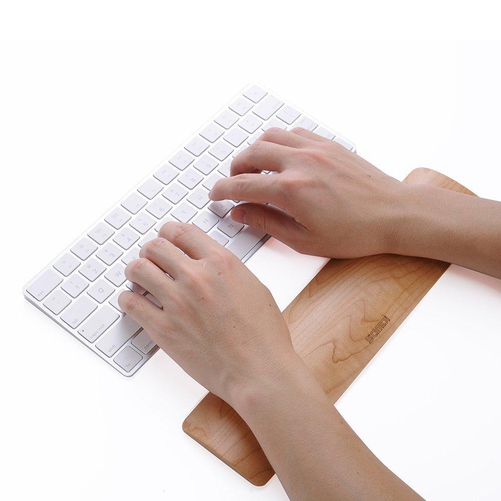 SAMDI - Supporto in legno per tastiera Apple con piccoli spazi di archiviazione Maple