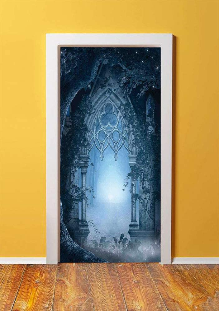Fantasy House Decor 3D Door Sticker Wall Decals Mural Wallpaper,Passage Doorway Through Enchanted Foggy Magical Palace Garden Night Scenery,DIY Art Home Decor Poster Decoration 30.3x78.1878,Navy Gray
