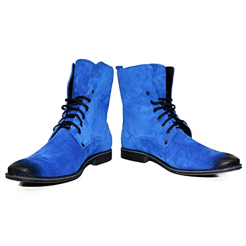 a9ffdeb09 PeppeShoes Modello Domatetto - 6 US - Handmade Italian Mens Navy Blue Ankle  Boots - Suede